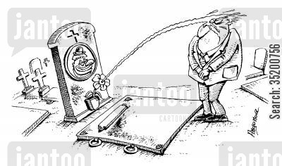 last laugh cartoon humor: Clowns gravestone squirts water at mourners