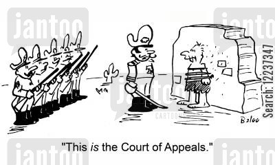 execution cartoon humor: 'This IS the Court of Appeals.'