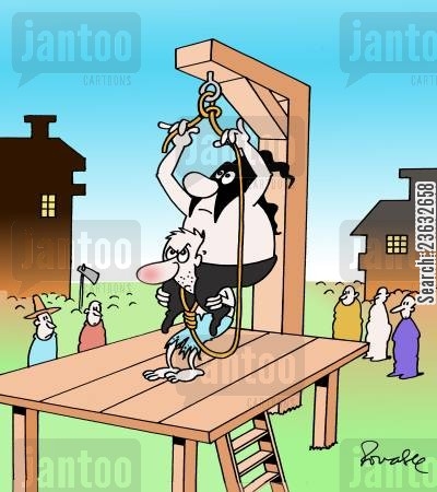 piggy backs cartoon humor: Execution.
