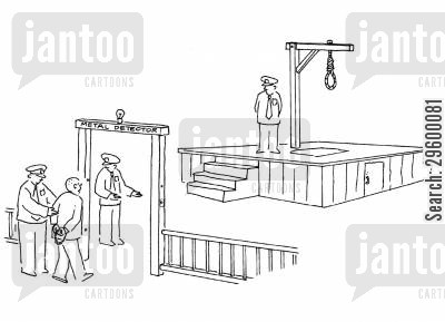 captial punishment cartoon humor: Man going through security gates to noose.