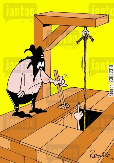 hangman cartoon humor: Executioner getting the finger.