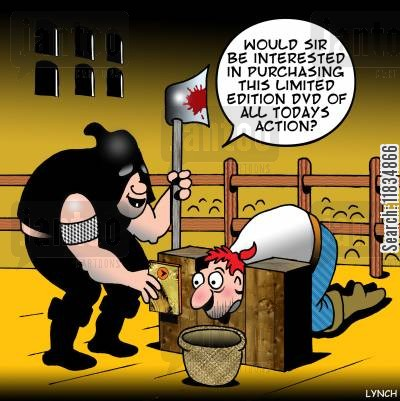 french revolution cartoon humor: 'Would sir be interested in purchasing this limited edition DVD of all todays action?'
