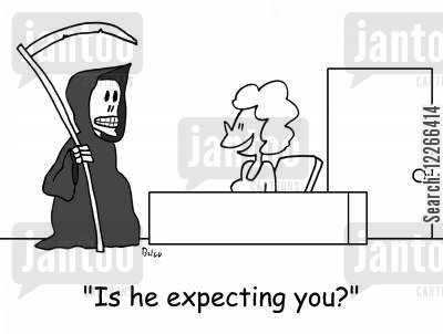personal assitants cartoon humor: 'Is he expecting you?'