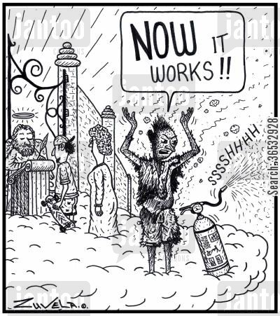 fire extinguishers cartoon humor: Man: 'NOW it works!!'