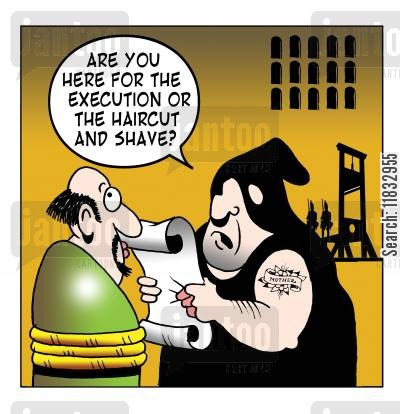 french revolution cartoon humor: Are you hear for the excution or the haircut and shave?