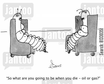 fossil fuel cartoon humor: 2 trilobites; 'So what are you going to be when you die - oil or gas?'
