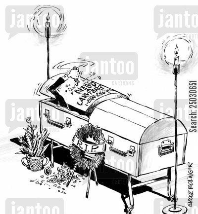 advertizing cartoon humor: Lawyer advertising, dead lawyer carving into his coffin lid, 'Need A Lawyer? Call 1-800-'