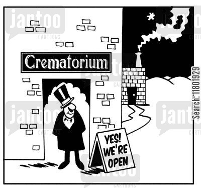 crematoriums cartoon humor: Crematorium with sign outside saying 'Yes! We're open.'