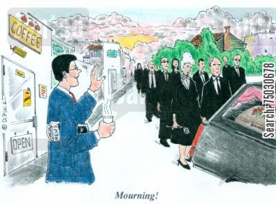 procession cartoon humor: 'Mourning!'