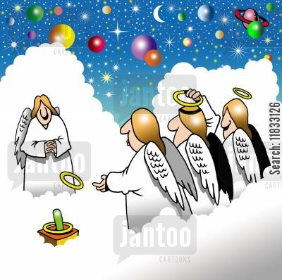 fun game cartoon humor: Angels playing quoits.