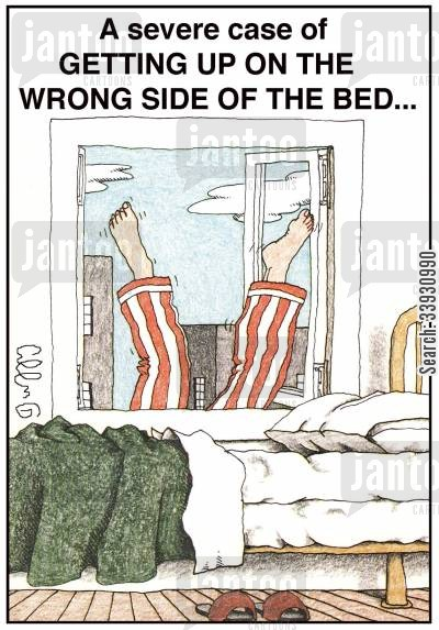mishaps cartoon humor: A severe case of getting up on the wrong side of bed...