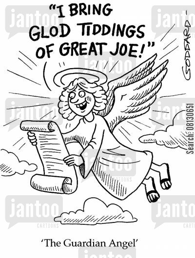 misspellings cartoon humor: The Guardian Angel.