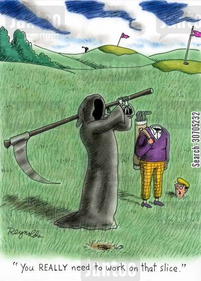 golf caddies cartoon humor: 'You really need to work on that slice.'