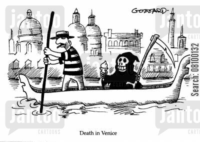 grim ripper cartoon humor: Death in Venice