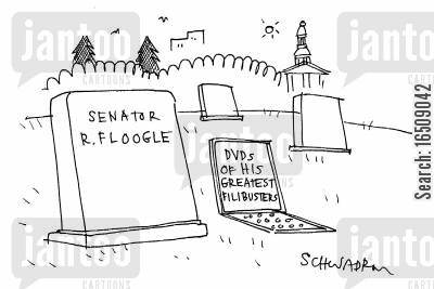 filibusters cartoon humor: Senator R. Floogle's grave and another grave with DVDs of his greatest filibusters.