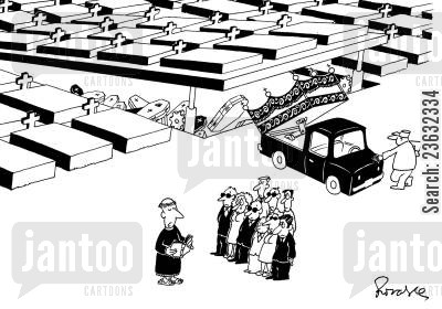 grave yard cartoon humor: Cemetary - coffin disposal.