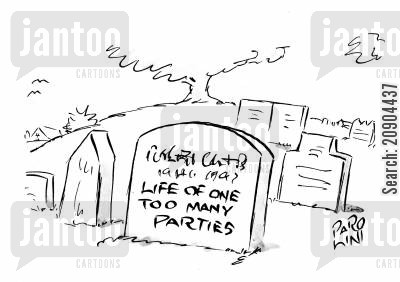 raver cartoon humor: Gravestone - (name)...life of one too many parties.
