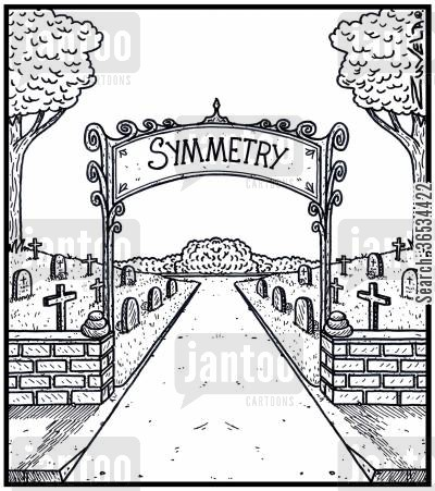 symmetrical cartoon humor: A Cemetery in Symmetry form