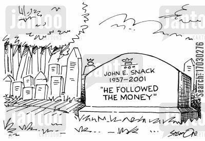 headstome cartoon humor: He followed the money.