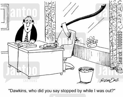 missed calls cartoon humor: 'Dawkins, who did you say stopped by while I was out?'