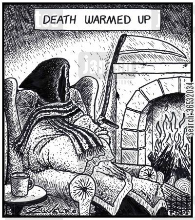 blankets cartoon humor: Death warmed up.