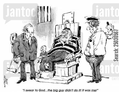 prison guard cartoon humor: I swear to God...the big guy didn't do it! It was ME!