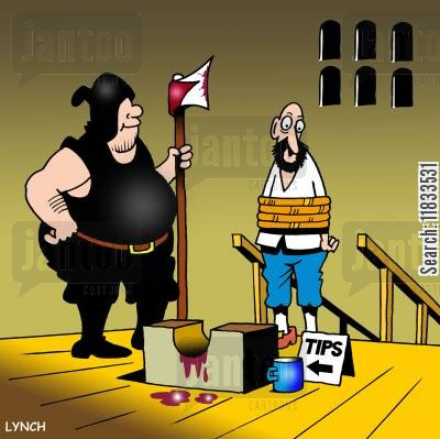 french revolution cartoon humor: Tips for the executioner.