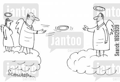 frisbees cartoon humor: Angels Playing Frisbee with their Halos.