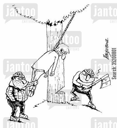 lynch cartoon humor: Men moving a hanged man to chop down the tree he's hanging from
