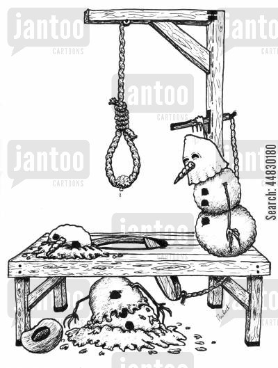 death penalty cartoon humor: A snowman executes another, but not in the fashion originally planned.