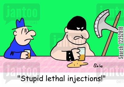 headsmen cartoon humor: 'Stupid lethal injections!'