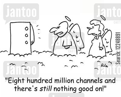 nothing on cartoon humor: 'Eight hundred million channels and there's still nothing good on!'