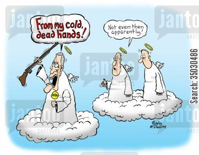 charlton heston cartoon humor: 'From my cold, dead hands!'