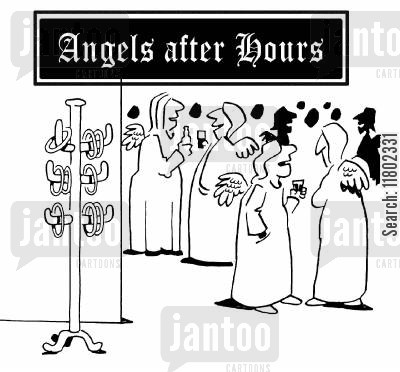 after work cartoon humor: Angels after hours.