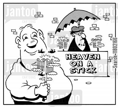 street sellers cartoon humor: Heaven on a stick.