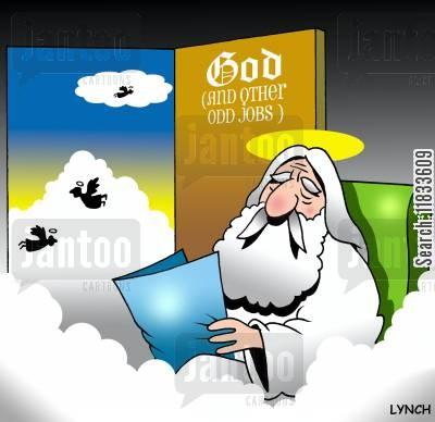 caretakers cartoon humor: God and Other Odd Jobs