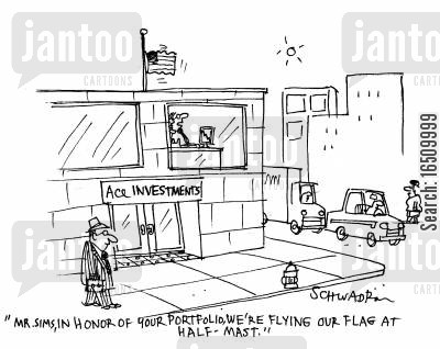 in honour cartoon humor: 'Mr Sims, in honour of your portfolio, we're flying our flag at half-mast.'