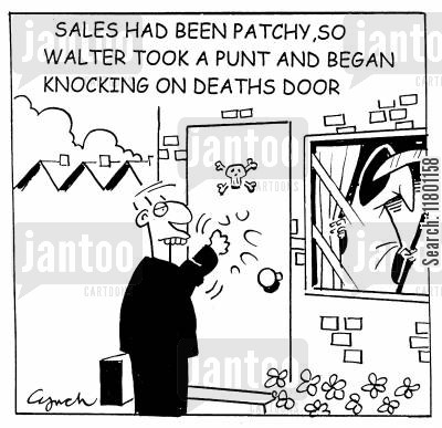 futility cartoon humor: ...Oscar took a Punt and Knocked on Death's Door