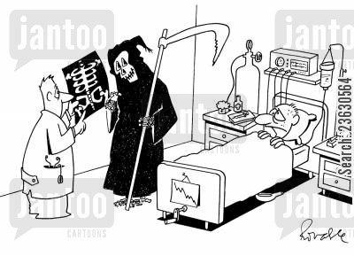 fate cartoon humor: Death in hospital.