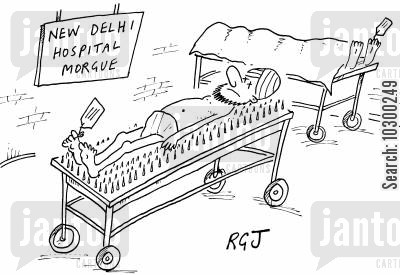 morgues cartoon humor: 'New Delhi Hospital Morgue' dead Indian laid out on a bed of nails