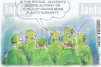 autopsies cartoon humor: Michael Jackson.