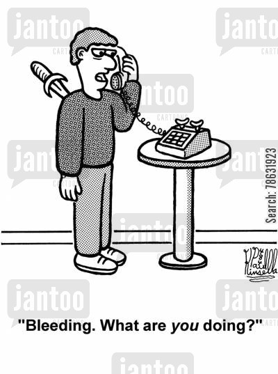calm cartoon humor: 'Bleeding. What are you doing?'