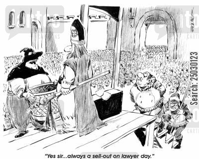magistrate cartoon humor: 'Yes, sir...always a sell-out on lawyer day.'