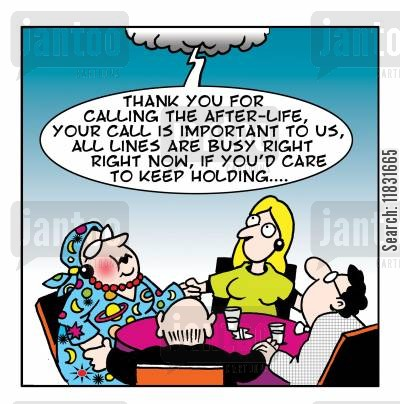 seances cartoon humor: Thank you for calling the after-life...