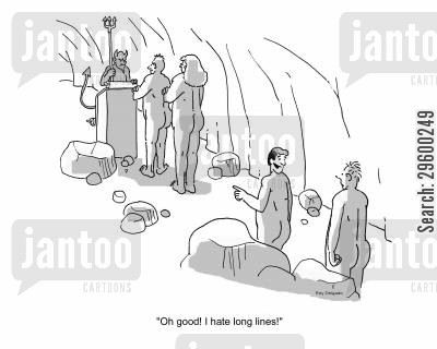 queuing cartoon humor: 'Oh good! I hate long lines.'