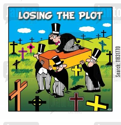 plot cartoon humor: Losing the plot.