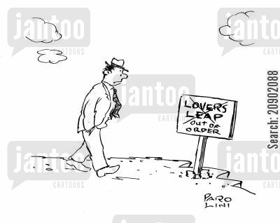 jump off a cliff cartoon humor: Sign by cliff: Lover's Leap - Out of order.