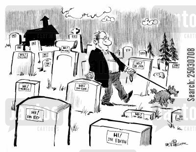 ice breaker cartoon humor: Tombstones with convention name tags