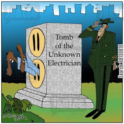 memorial day cartoon humor: Tomb of the Unknown Electrician.