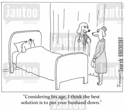 mercy killing cartoon humor: 'Considering his age, I think the best solution is to put your husband down.'
